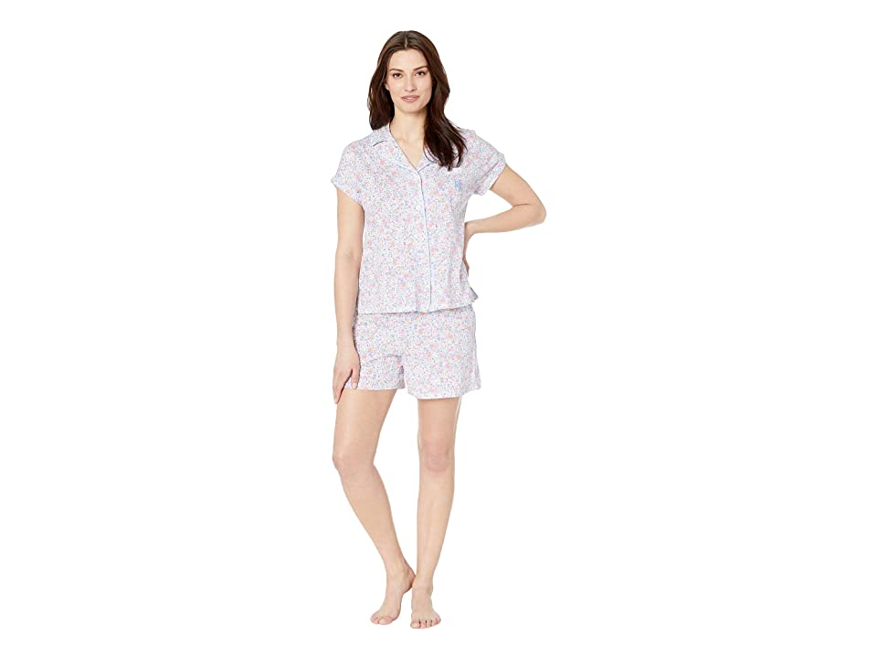LAUREN Ralph Lauren Dolman Notch Collar Boxer Pajama Set (Multi Floral Print) Women