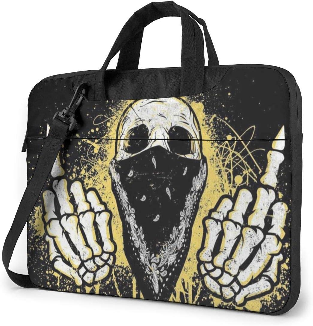 Laptop Shoulder Bag Skull Wearing A Turban Printed Shockproof Waterproof Laptop Shoulder Backpack Bag Briefcase 15.6 Inch