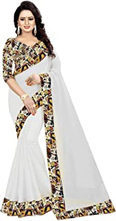 Miraan Womens Chanderi Cotton Blend Printed Saree With Blouse Piece (HOUSE)