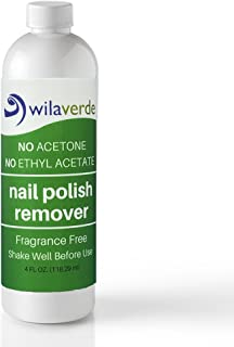 Nail Polish Remover - Wilaverde 100% Biodegradable - No Acetone Non Toxic Formula Moisturizes Nails and Cuticles (4 oz) (Fragrance Free)
