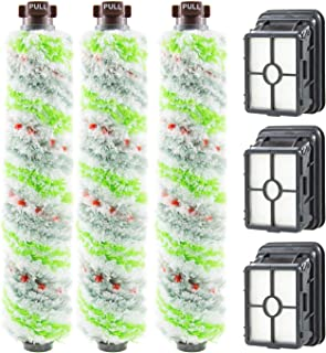 2306A,1785A Replacements 3 Pack Multi Surface Pet Brush Roll 2306A and 3 Pack 1866 Vacuum Filter Compatible with Bissell CrossWave 1785 2306 2551 Wet Dry Vacuum Cleaner