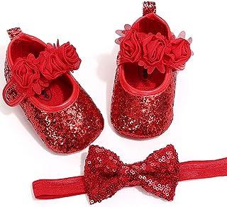 2pcs/Set Newborn Baby Girl Princess Mary Jane Shoes Toddler Infant Wedding Dress Flat Shoes with Free Headband
