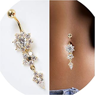 Fashion Navel Piercing Rhinestone jewely Flower Dangle Navel Nail Belly Button Ring Sexy Body Jewelry for Women