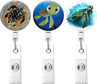 Cute Turtle Badge Reel, Retractable Badge Name Holder with Alligator Clip Badge ID Holder for Doctor, Nurse(3pack Cute Tur...