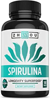 Zhou Spirulina Tablets | Sustainably Grown in California | Non-GMO | 30 Servings, 180 Count