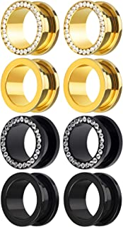 8 Pieces Black Gold Plated Stainless Steel Gem Rhinestones Screw Fit Ear Plug Gauges Flesh Tunnels Eyelet Stretcher Body Piercing Jewelry