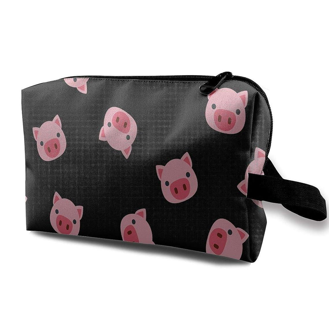 融合ソフィー振動させる漫画 豚 ドロー 化粧ポーチ メイクポーチ コスメケース 洗面用具入れ 小物入れ 大容量 化粧品収納 コスメ 出張 海外 旅行バッグ 普段使い 軽量 防水 持ち運び