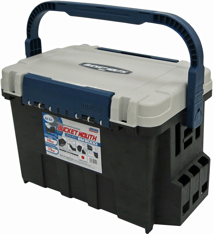Meiho Box Seat Bucket Mouse BM-9000 - Angelkasten 542 x 340 x 350 mm, Angelkoffer mit 35 Liter Volumen, schwarz wei blaue Angelbox auch als Angelsitz zu verwenden
