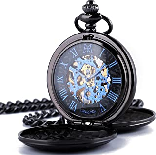 ManChDa Double Cover Roman Numerals Dial Skeleton Pocket Watches with Gift Box and Chain for Mens Women