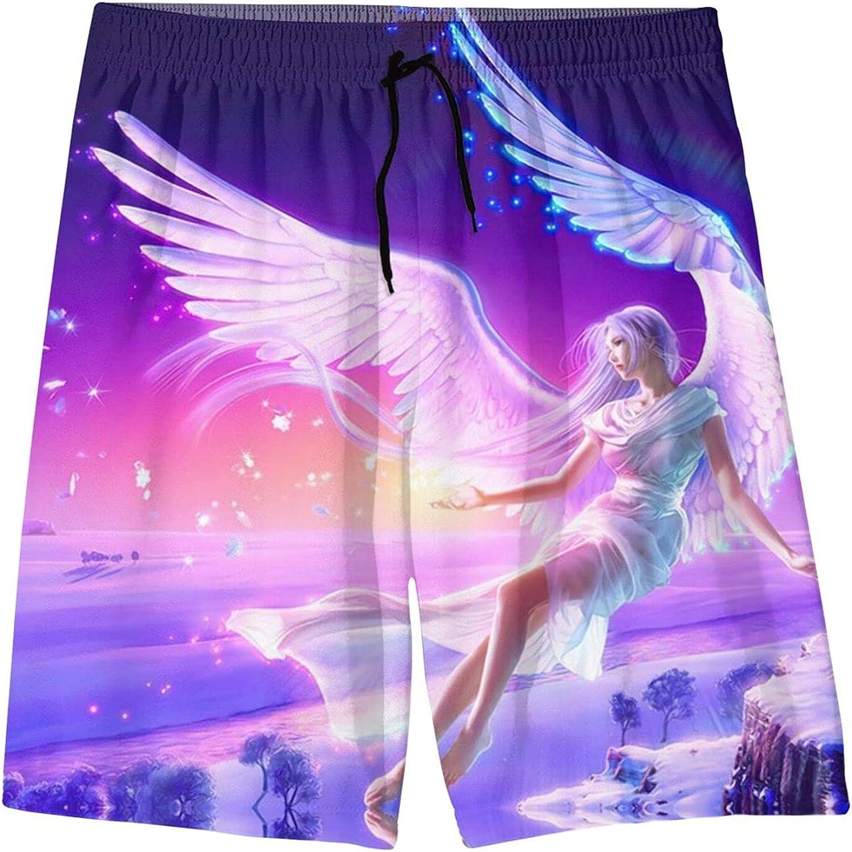 White Angel Blue Wings Girl Purple Starry Fantasy Art Youth Beach Pants