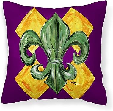 Caroline's Treasures 8133PW1414 Mardi Gras Fleur de lis Purple Green and Gold Fabric Decorative Pillow, 14Hx14W, Multicolor