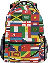 School Backpacks World Flags Student Backpack Big for Girls Boys