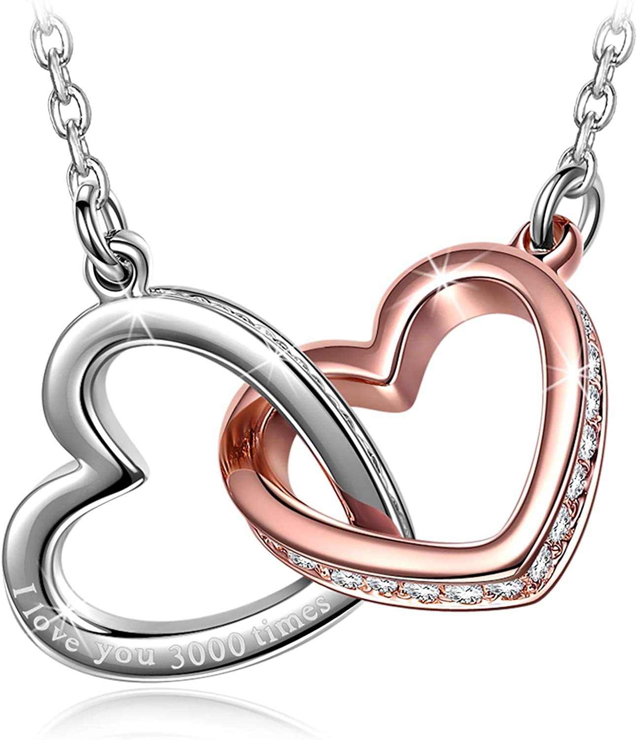 QIANSE Necklace for Women I love you Manufacturer direct delivery Heart times Dealing full price reduction Cry 3000 Love