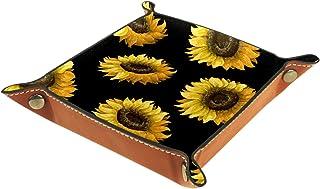 Vockgeng Tournesol Jaune Boîte de Rangement Panier Organisateur de Bureau Plateau décoratif approprié pour Bureau à Domici...