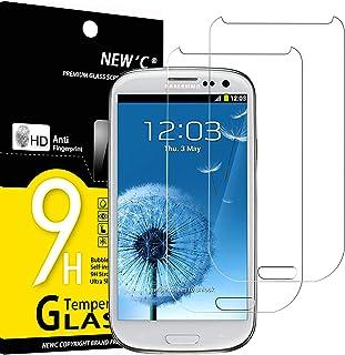 NEW'C 2-pack skärmskydd med Samsung Galaxy S3 – Härdat glas HD klar 9H hårdhet bubbelfritt