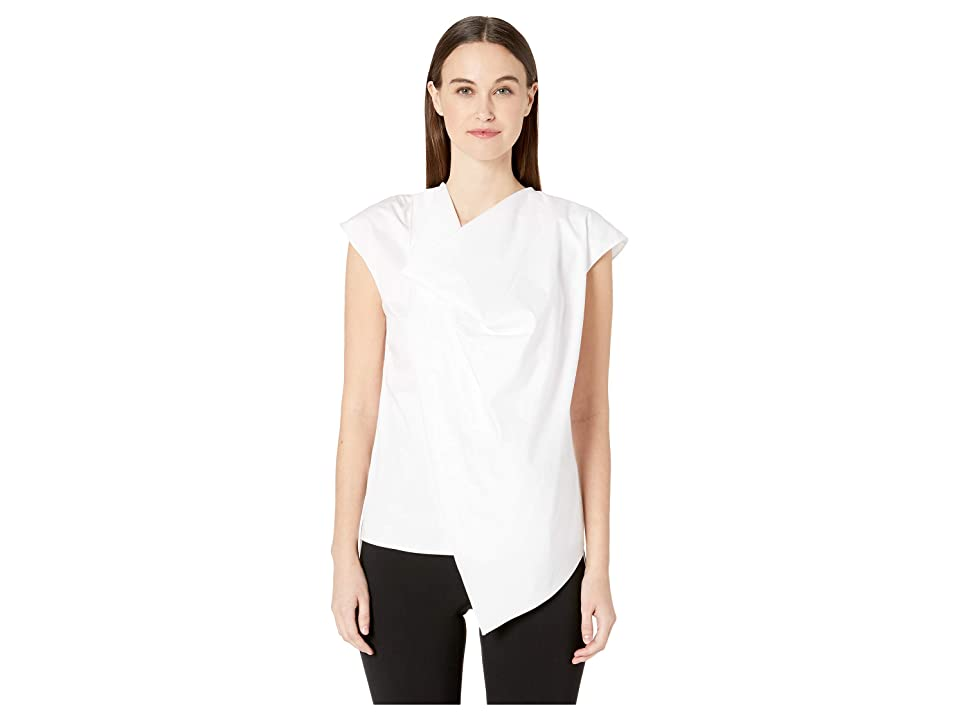 Image of Adam Lippes Cotton Poplin Cowl Neck Top (White) Women's Clothing