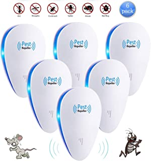 Lway Ultrasonic Pest Control Repeller Repellent Plug in for Insect Mice Spiders Fleas Eco-Friendly, Human & Pet Safe (6 Packs)