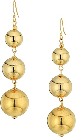 Kenneth Jay Lane Polished Gold 3 Small To Large Bead Drop Fishook Top Ear Earrings