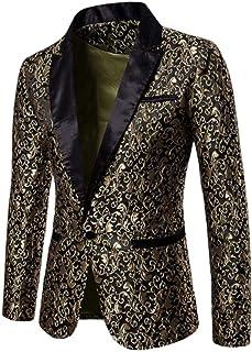 FSSE Mens Stylish One Button Print Notched Lapel Party Blazer Jackets
