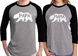 Bold Mama Bear & Papa Bear & Baby Bear Matching Family Baseball Shirts 3/4 Raglan Arms-Price for 1