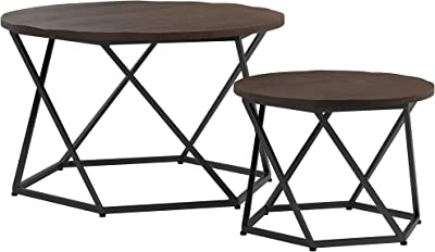 Coaster Home Furnishings Round Dark Brown and Matte Black 2-Piece Nesting Table Set