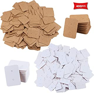 Kuqqi 400 Pcs Mini Rectangle Small Blank Kraft Paper Ear Studs,Earring Display Cards,Price Label Tag,Jewelry Cards Holder ...