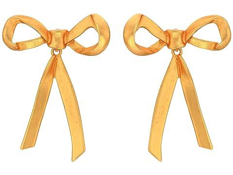 Oscar de la Renta Runway Metal Bow P Earrings