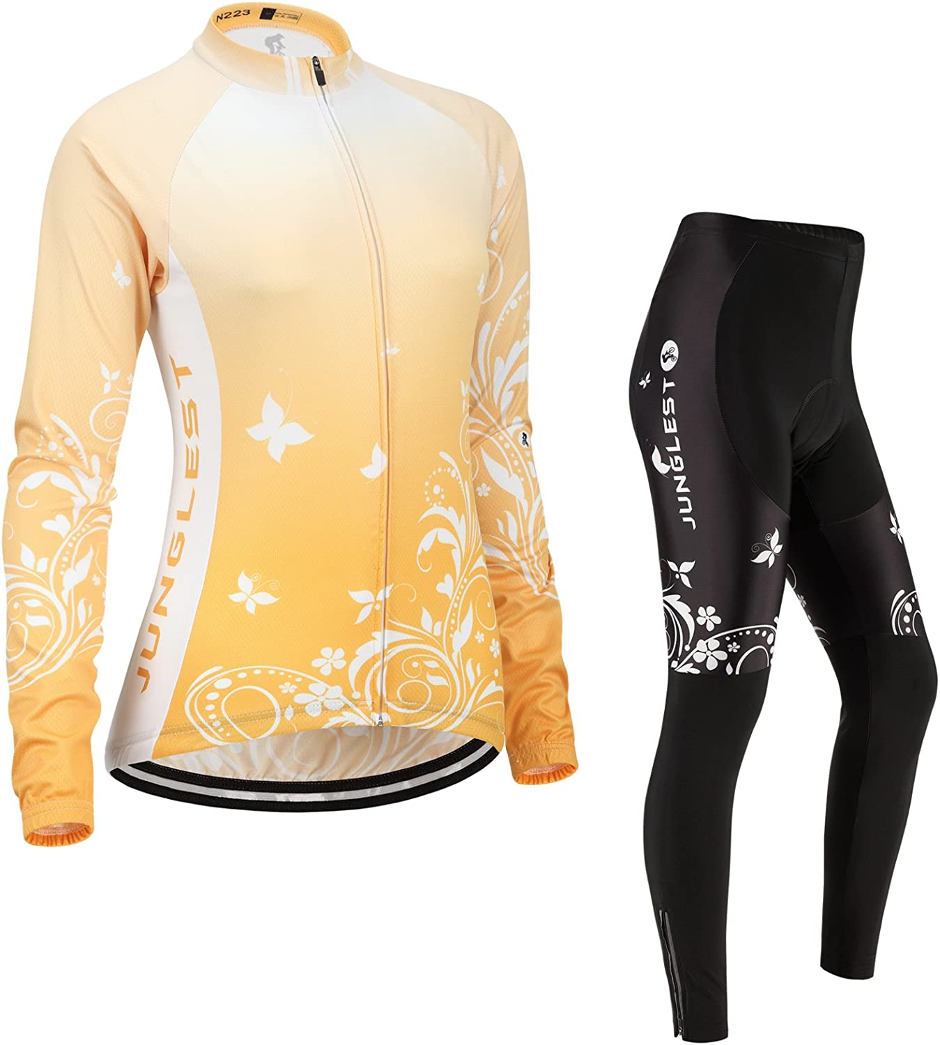 Cycling jersey Set, Maillot de Cyclisme Women Femme Long sleeve Manches Longues(S5XL,option bib Cuissard,3D pad Coussin) N223