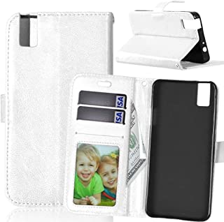 JUJIANFU-Phone Case for Huawei Honor 7i/for Huawei Shot X Solid Color Premium PU Leather Wallet Magnetic Buckle Design Flip Folio Protective Case Cover with Card Slot/Stand (Color : White)