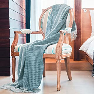 SuperMee Throw Blankets for Couch BlueThrowBlanket Knit Blanket Throw Blanket with Tassels Cozy Blanket for Sofa, Bed, Office, Travel, Office Couch Cover 50x78(Blue)