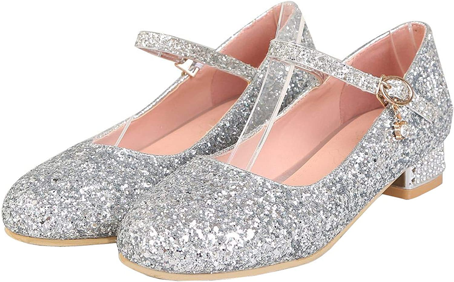 Vitalo Womens Low Chunky Heel Glitter Mary Jane Ankle Strap Sparkly Dress Pumps