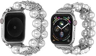 Apple Watch ile Uyumlu Bant-Kordon-Kayış-Bilezik, Reçine Bilezik, Paslanmaz Çelik Toka Bakır Yedek Bileklik Kayışı 38mm / 40mm-42mm / 44mm için uygun, Apple Watch Serisi 4/3/2/1 için, 5.5 inç- 8.26 inç Bilek Ölçüsü için Uyumlu (42mm, Krem)