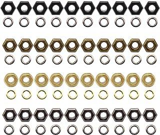 YFaith 40 Stück Metallösen, Tüllen Werkzeug, Leder Handwerk DIY Öse, Rund Oesen, Stoffoesen, für Leder Leinwand Kleidung, mit Unterlegscheibe, 4 Farben Golden, Bronze, Schwarz, Braun