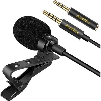 ピンマイク Acebliss高音質 妨害防止 コンデンサー asmr マイク 1.5mケーブル付き 録音インタビュー用のスマホ マイク【iPhone/Android/PCなど機種対応】
