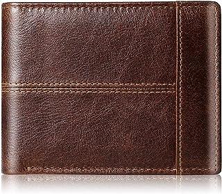 Mens Wallet Slim Genuine Leather RFID Thin Bifold Wallets For Men Minimalist Front Pocket ID Window 10 Card Holders Gift Box