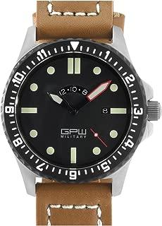German Military Titanium Watch. GPW GMT. Sapphire Crystal. Brown Leatherstrap. 200M W/R