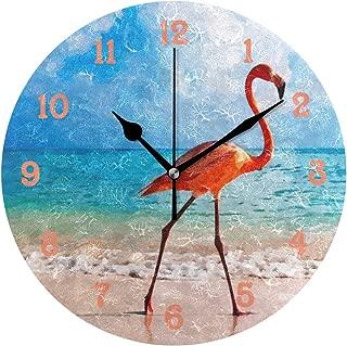 MIKA壁掛け時計 雑貨 かけ時計 壁掛時計 掛け時計 時計 無音時計 連続秒針 静音 オシャレ ビーチ 水彩画 芸術 美しくエレガント フラミンゴ