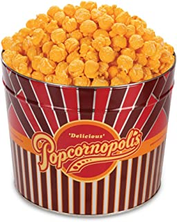 Popcornopolis Gourmet Popcorn 1.26 Gallon Tin with Cheddar Popcorn