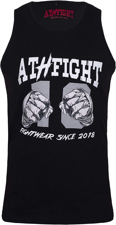 ATHFIGHT Camiseta sin mangas para entrenamiento de deportes de fuerza, gimnasio, fitness y culturismo y tiempo libre, diseño de Two Fists