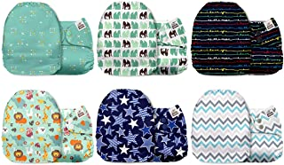 Mama Koala One Size Baby Washable Reusable Pocket Cloth Diapers, 6 Pack with 6 One Size Microfiber Inserts