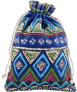 NBEADS Bolsa con Cordón, Bolsa de Tela Pequeña de 50 Pieza con Patrón Impreso para Manualidades Y Artículos de Viaje, 17.6X12.4 Cm