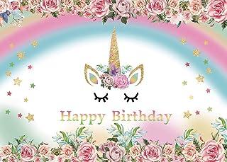 AIIKES 7x5FT/2,1Mx1,5M Einhorn Party Blume Foto Hintergrund Geburtstag Baby Neugeborenes Fotografie Hintergrund Angepasst Fotografisch Hintergrund Für Foto Studio 11-333