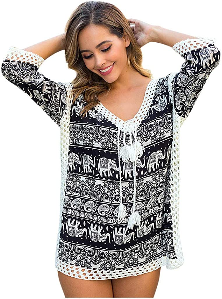 Digood Summer Swimsuit Cover Ups,Women Sexy Hollow Out Elephant Print Swimwear Beachwear Bathing Suit Cover Up(Black,One Size)