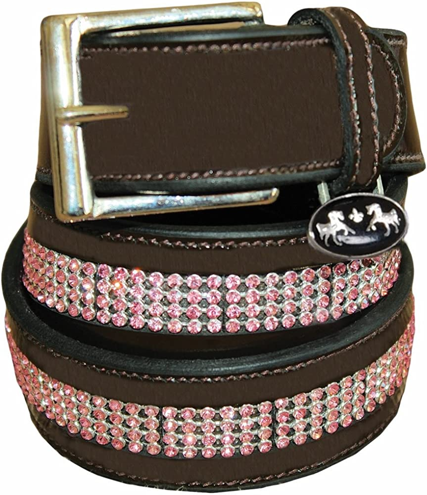 Equine Free shipping Couture Bling Ladies Leather 28 Belt WhiteStones Black Discount mail order