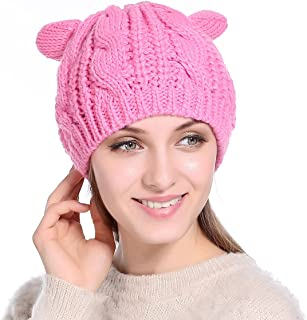 Women Winter Thick Cable Knit Beanie Hat Cat Ear Crochet Braided Knit Caps