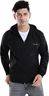 AQUADO Winter Fleece Jacket Full Sleeves Hooded Sweatshirt Tshirt with Pocket Zip for Mens