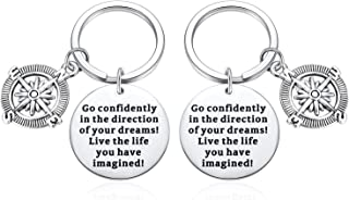 Compass Key Chain Graduation Keychain Gifts inspirational Birthday Gift-Go Confidently in The Direction of Your Dreams Live The Life You Have Imagined Keyring 2pcs