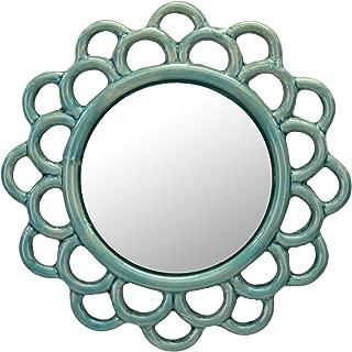 Stonebriar Turquoise Decorative Round Cutout Ceramic Wall Hanging Mirror