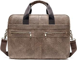FANDARE Heren laptop-aktetas lederen handtas business schoudertas waterdicht crossbody Messenger Bags, bruin A, Large, act...