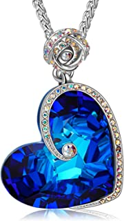 J.NINA Heart Necklaces for Women with Blue Crystals from...